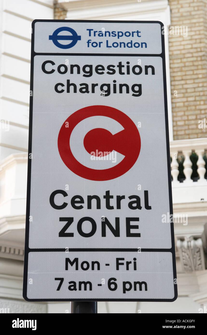 congestion charging sign along park lane london england uk - Stock Image