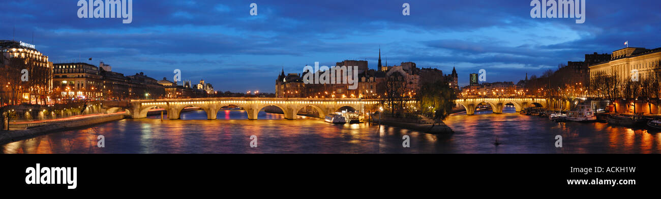 Saint-Louis Island and The Pont Neuf by a cloudy Evening, Paris, France - Stock Image