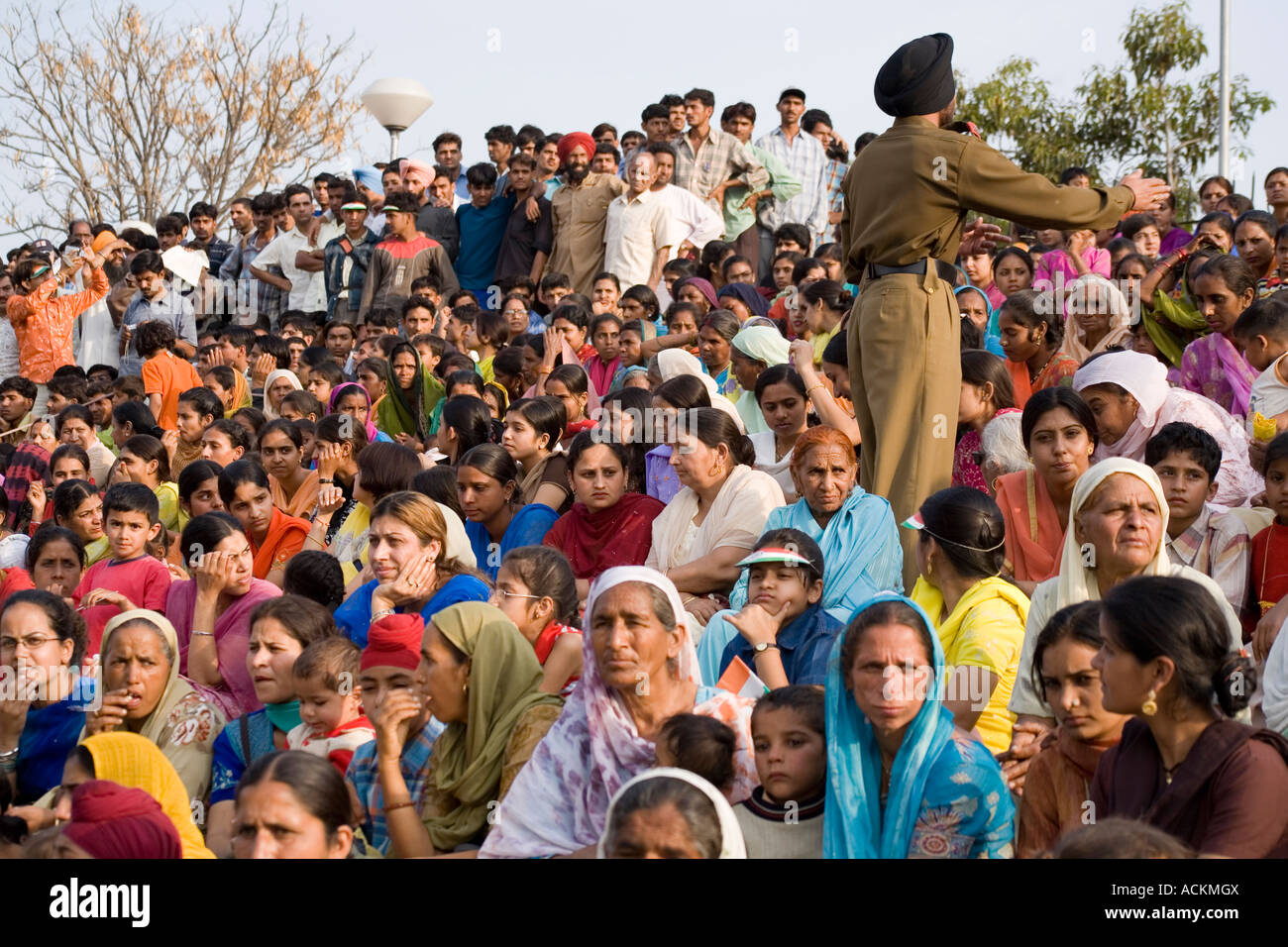 Segregated male and female Indian audience at the Wagah Gate - Stock Image