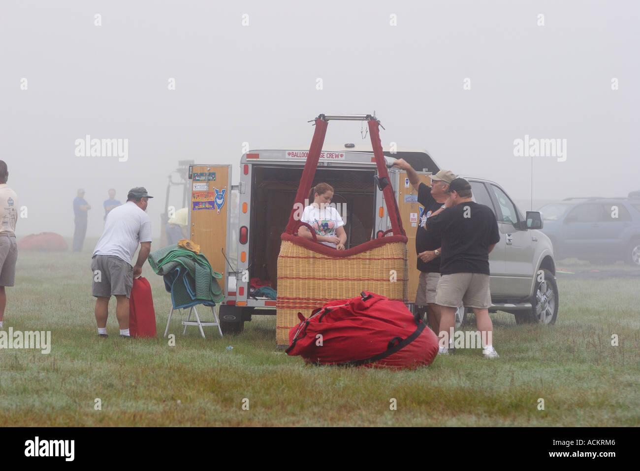 Hot air balloons prepare for lift off at balloon festival in Dunnellon, Florida, USA Stock Photo