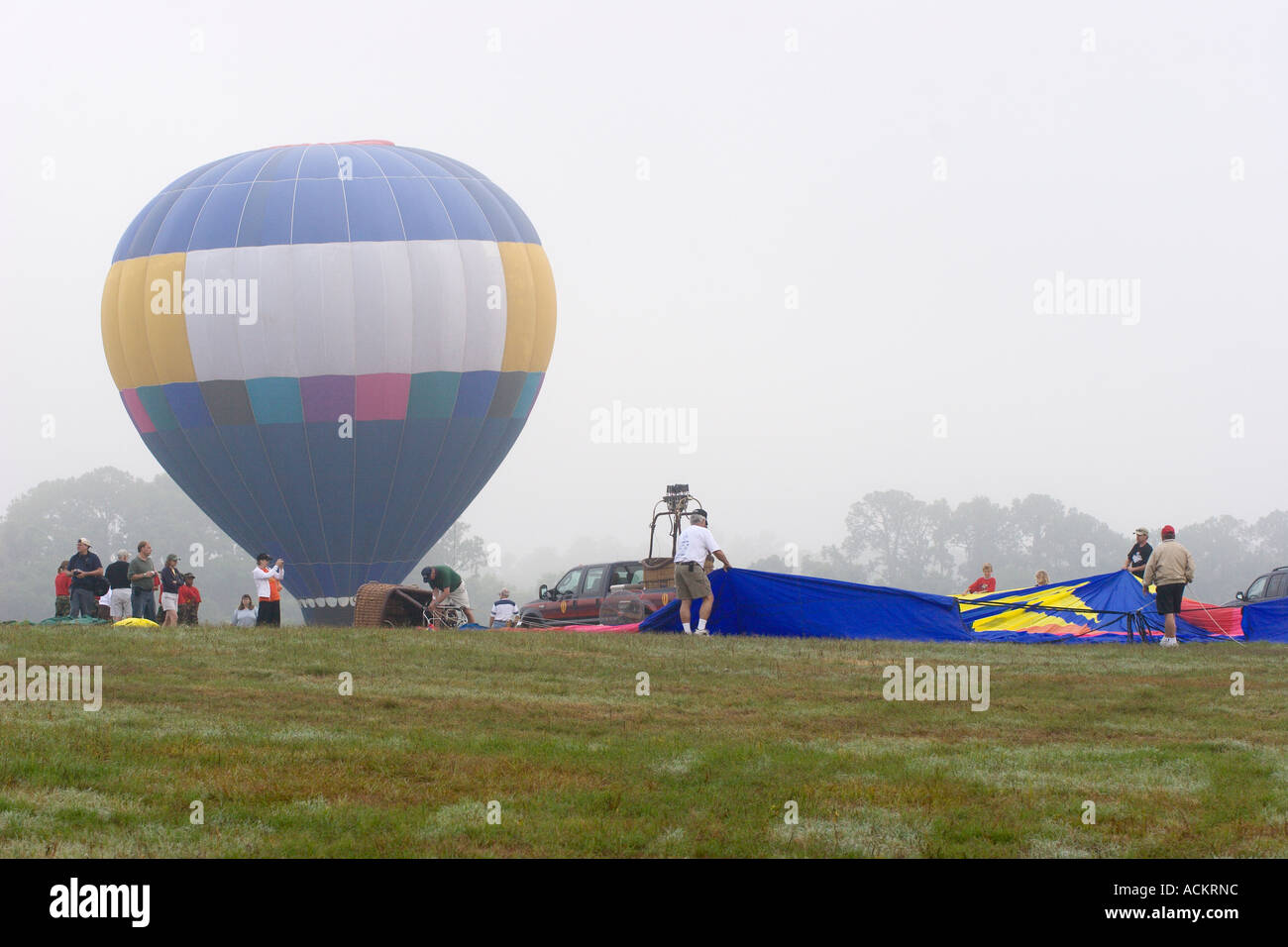 Hot air balloons prepare for lift off at balloon festival in Dunnellon, Florida, USA Stock Photo