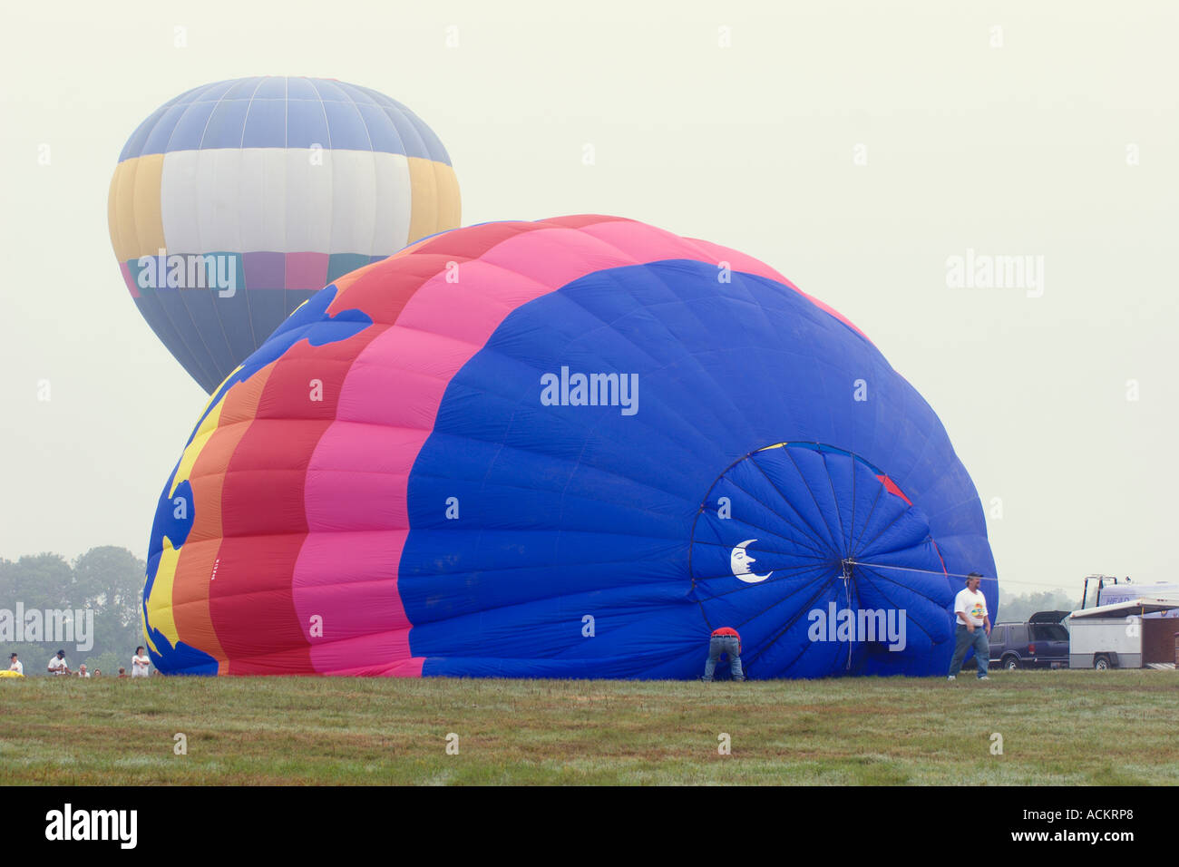 Hot air balloons being inflated at balloon festival in Dunnellon Florida USA Stock Photo