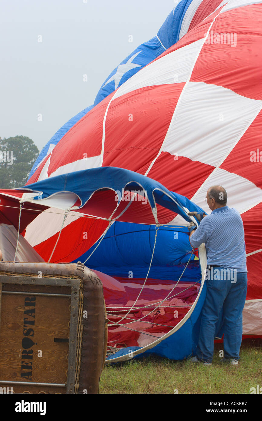 Hot air balloons being inflated at balloon festival in Dunnellon, Florida, USA Stock Photo