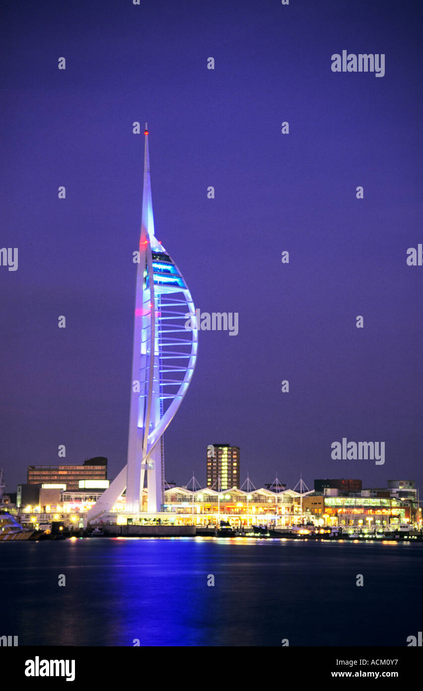 View of Spinnaker Tower at Twilight in Portsmouth Hampshire England UK Stock Photo
