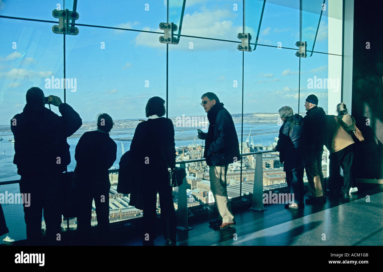 View over HM Dockyard from Spinnaker Tower in Portsmouth Hampshire England UK - Stock Image