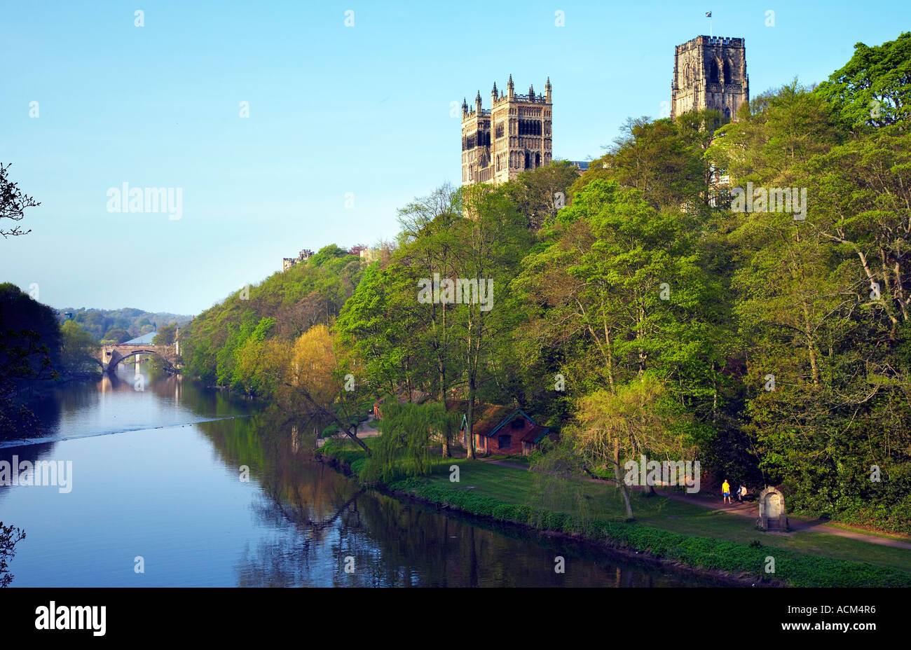 Cathedral From Prebends Bridge River Wear Durham City England Stock