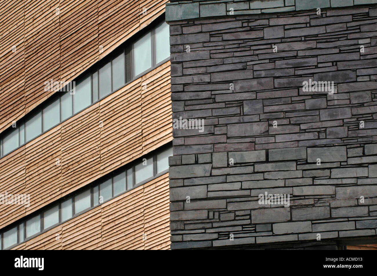 Welsh Slate Wall And Timber Cladding Exterior Details Of The Wales  Millennium Centre Cardiff Bay South Wales UK