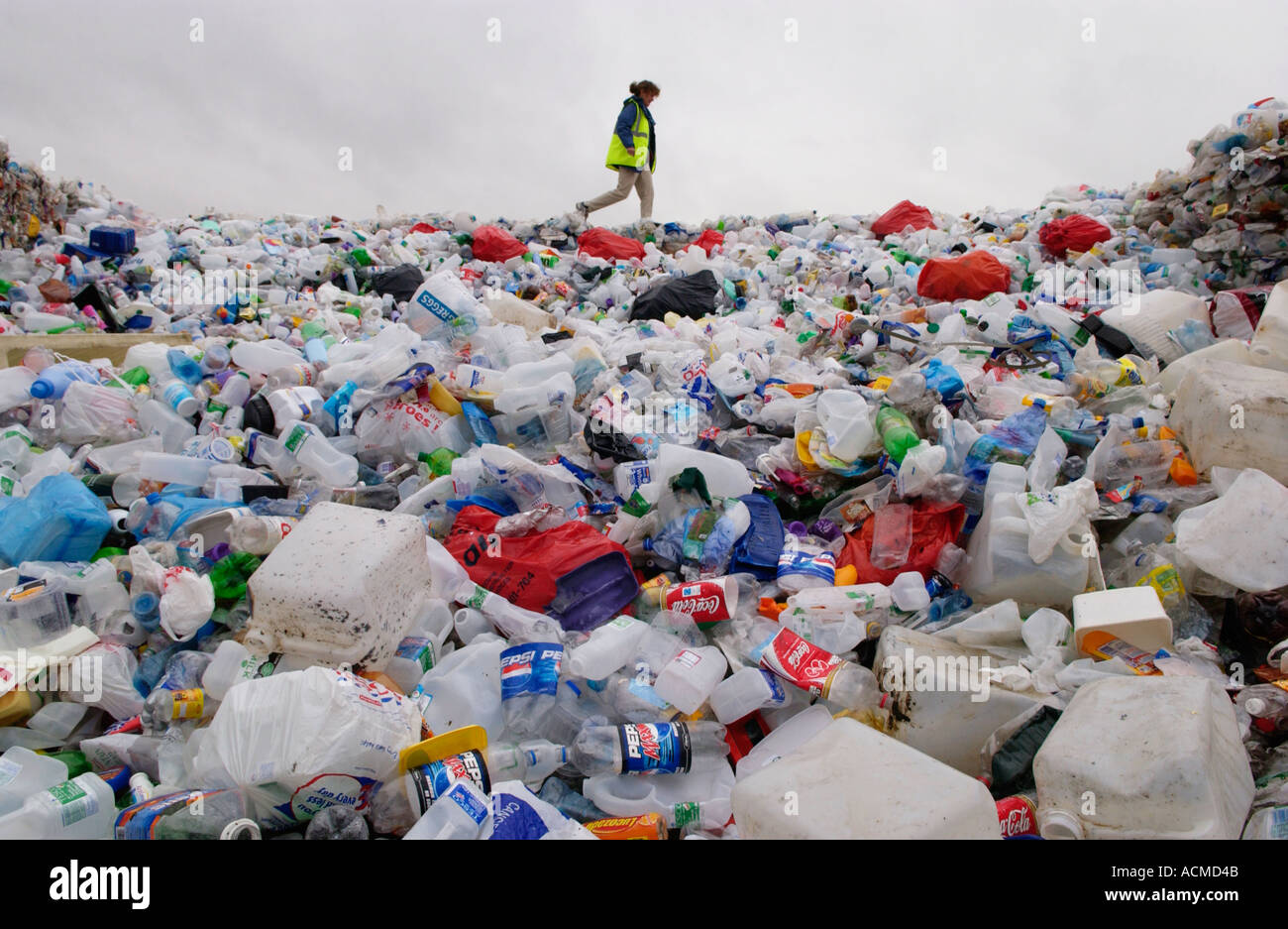 Plastic collected by Wastesavers community recycling group from households in Newport South Wales Gwent UK - Stock Image