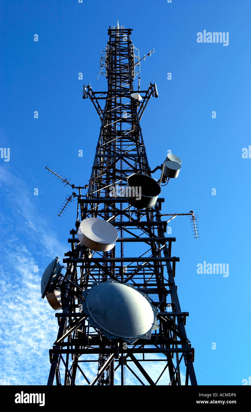 Radio communication masts in the Brecon Beacons National Park South Wales UK Stock Photo