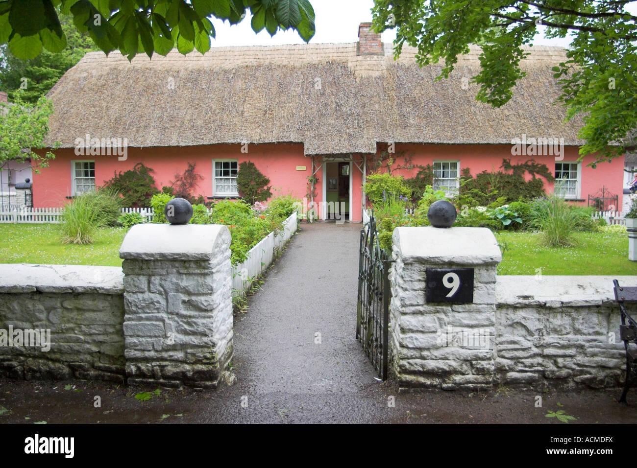 Golden Vale Farmhouse at Bunratty Folk Park Co Clare Ireland - Stock Image