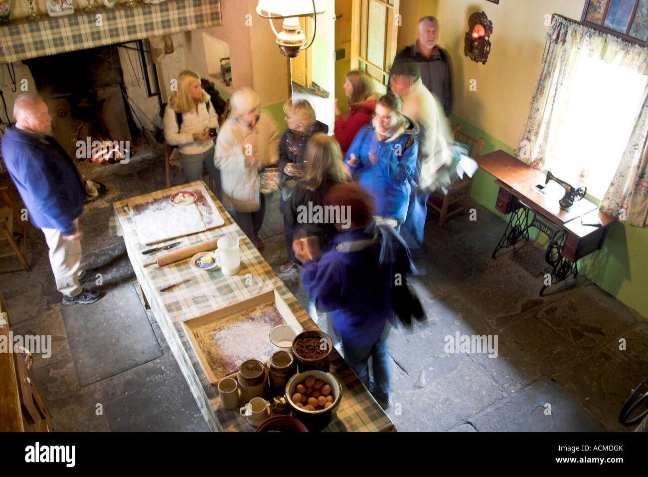 The interior of Golden Vale Farmhouse at Bunratty Folk Park Co Clare Ireland - Stock Image