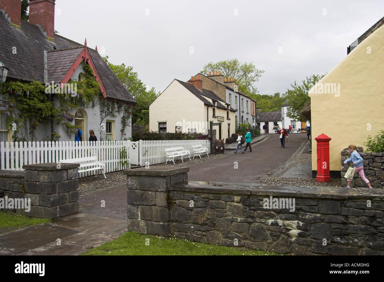 The 19th Century village street at Bunratty Folk Park Co Clare Ireland - Stock Image