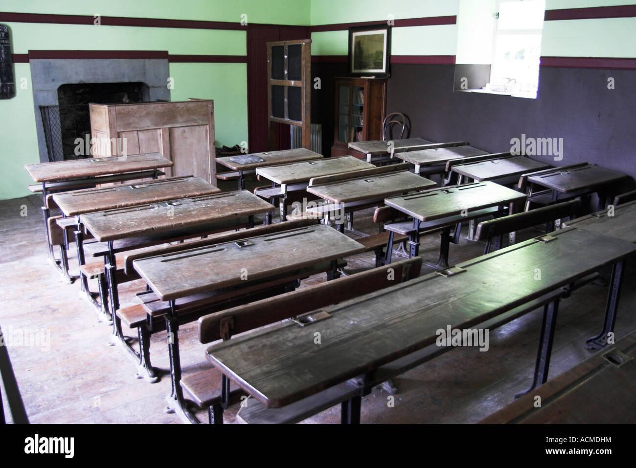 A 19th Century school room at Bunratty Folk Park Co Clare Ireland - Stock Image
