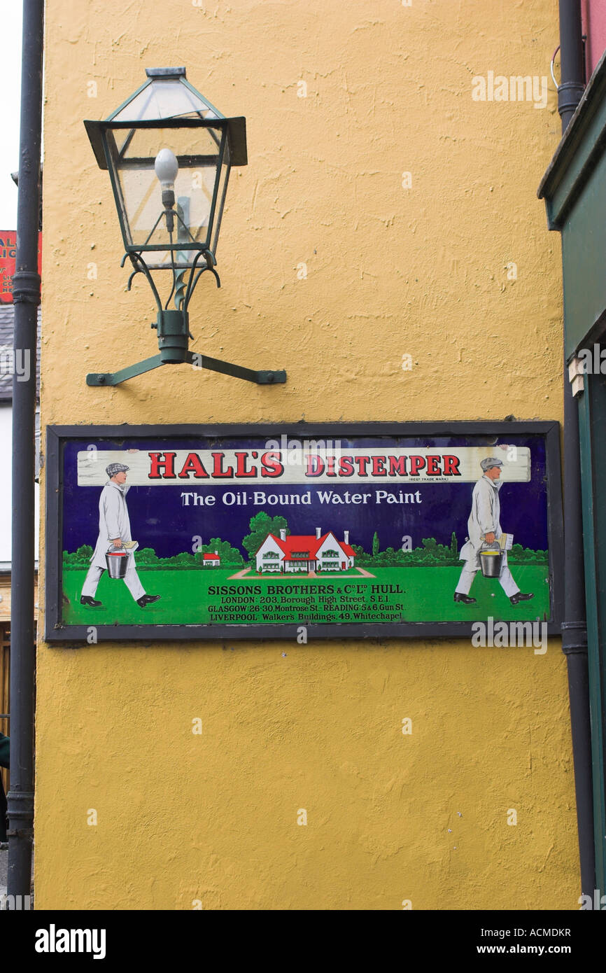 An advert for Hall s Distemper paint at Bunratty Folk Park Co Clare Ireland - Stock Image