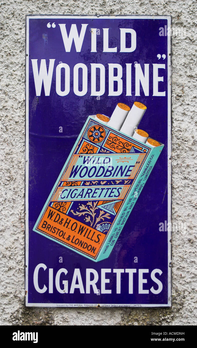 An advert for Wild Woodbine Cigarettes at the Bunratty Folk Park Co Clare Ireland - Stock Image