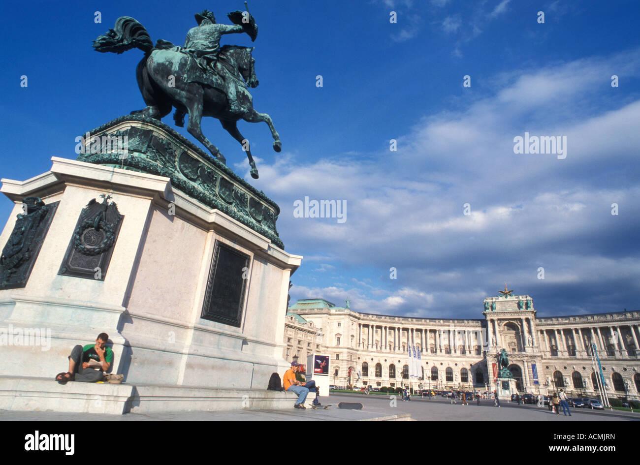 Equestrian statue of Erzherzog Karl at Heldenplatz place in front of Neue Hofburg building in Vienna Austria - Stock Image