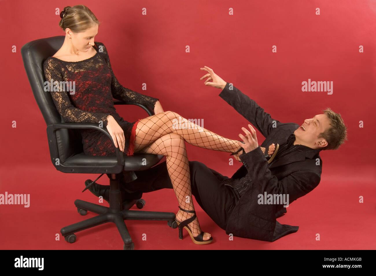 Woman hitting the man - Stock Image