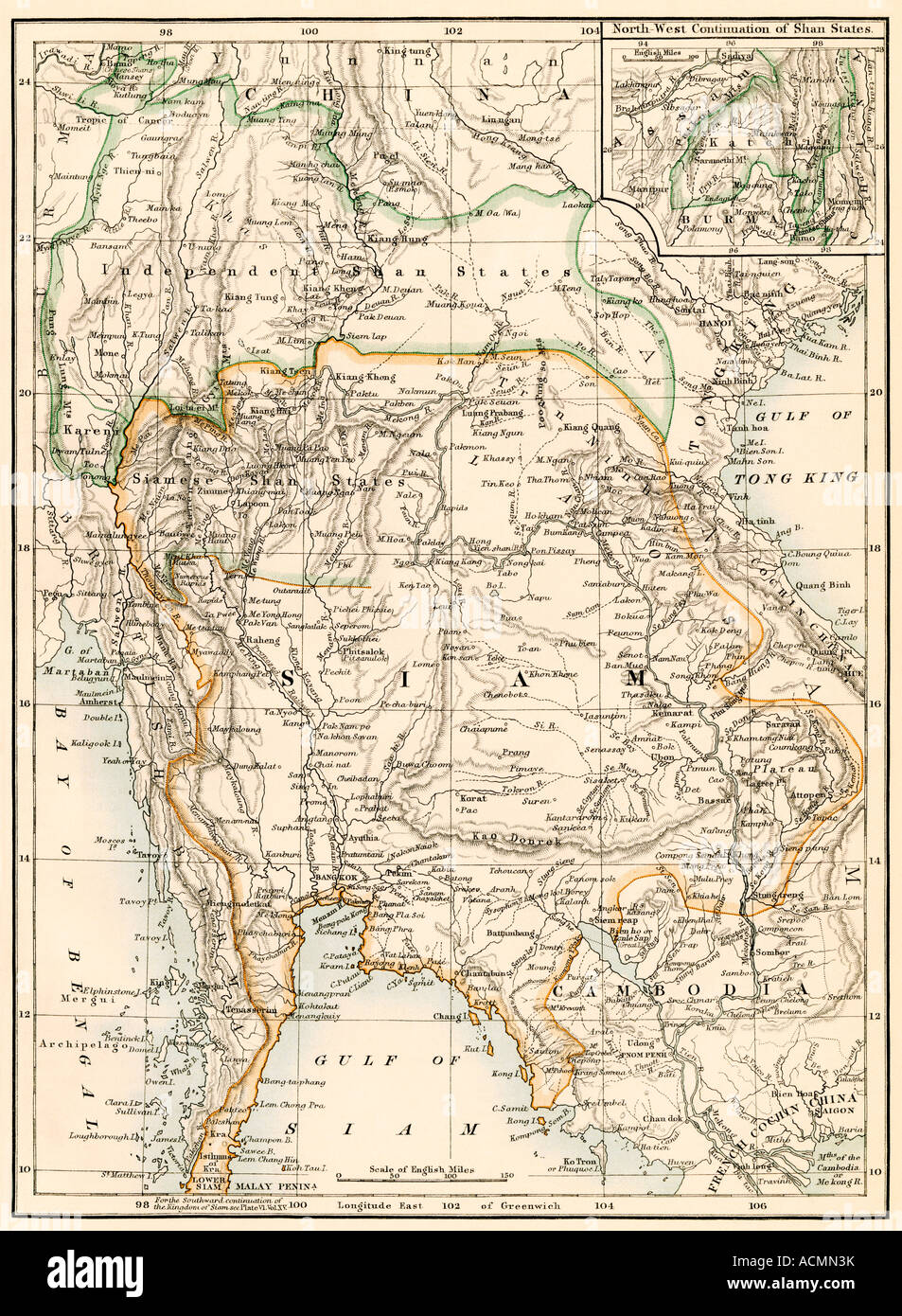 Map of Siam now Thailand and the independent Shan States,1870s. Color lithograph - Stock Image