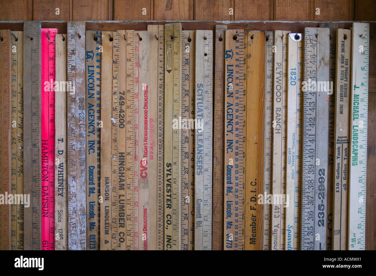 Collection of Wooden Rulers - Stock Image