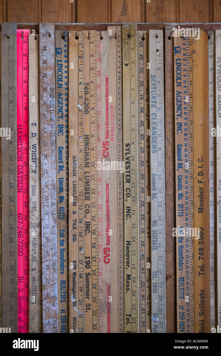 Collection of Wooden Rulers Stock Photo