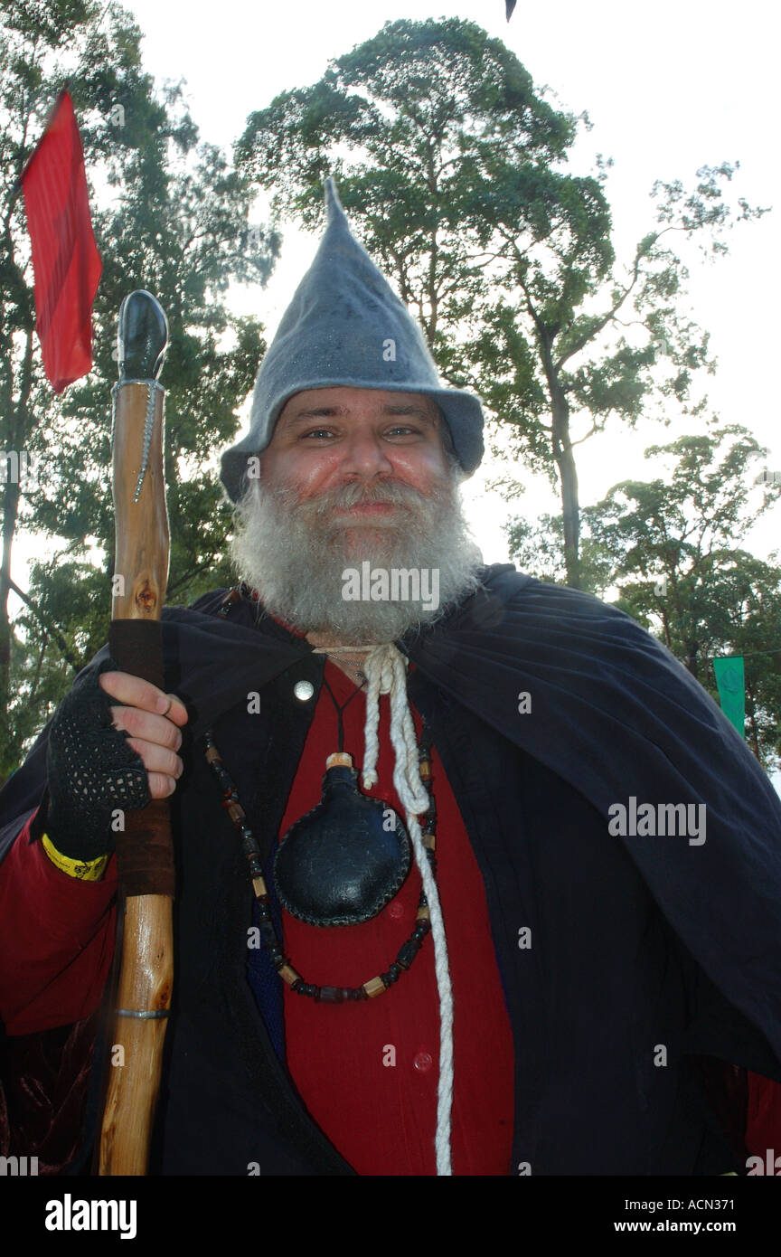 Great wizard with staff grey beard and hat dsc1275 - Stock Image