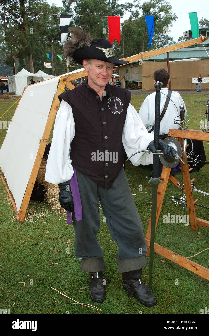 16th 17th century swordsman with great sword two handed sword dsc 1319 - Stock Image