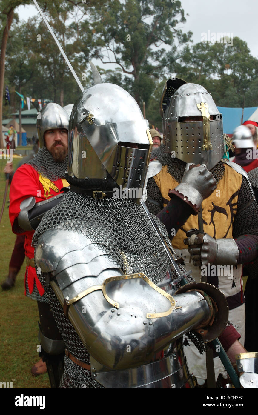 Knight in shining armor ready for battle tournament joust dsc 1366 - Stock Image