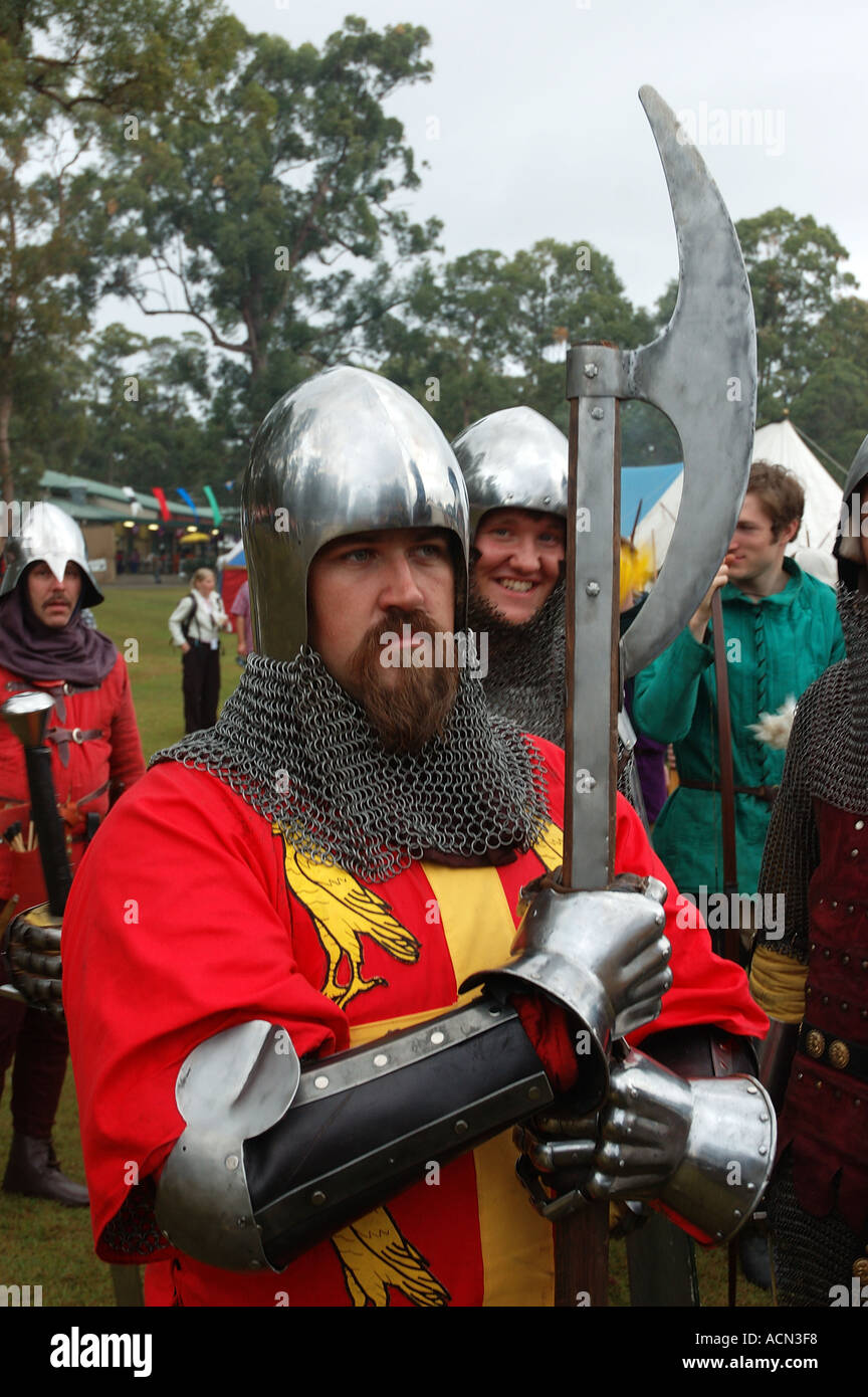 Knight in shining armor ready for battle tournament joust dsc 1371 - Stock Image