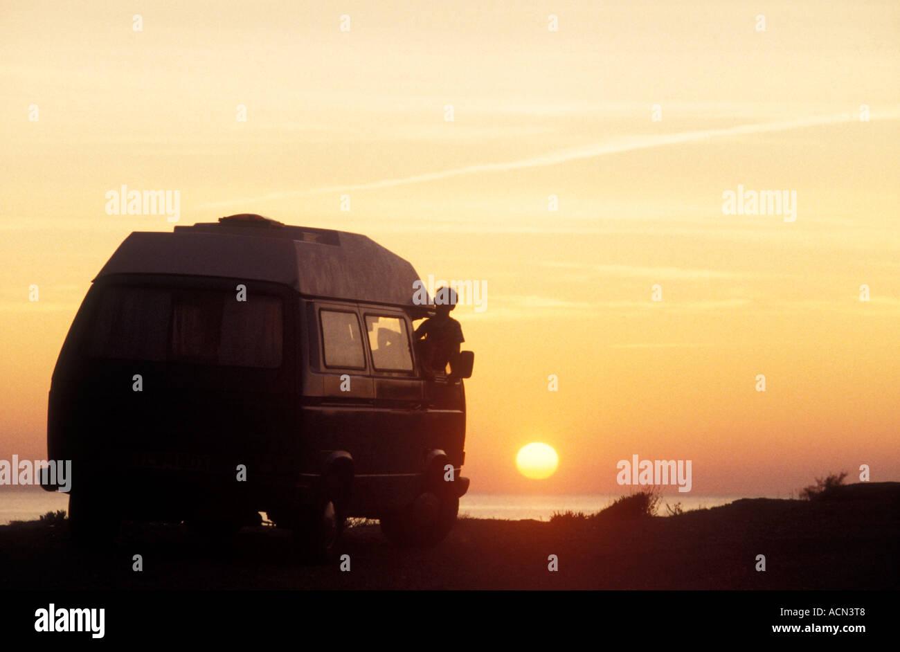 Kombi VW at sunset, photo by Bruce Miller - Stock Image