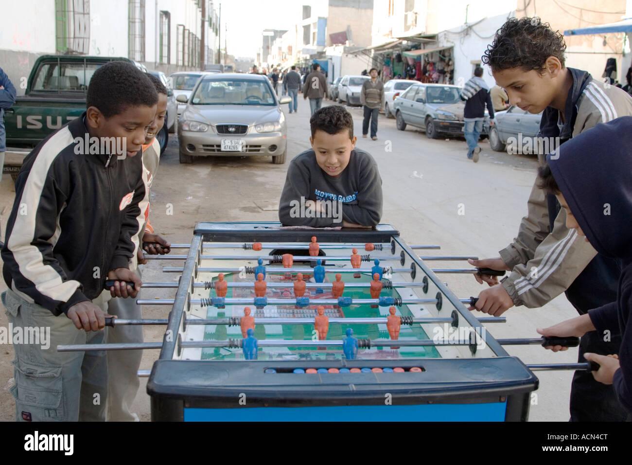 Tripoli, Libya. Boys Playing Fussball, Tripoli Medina - Stock Image