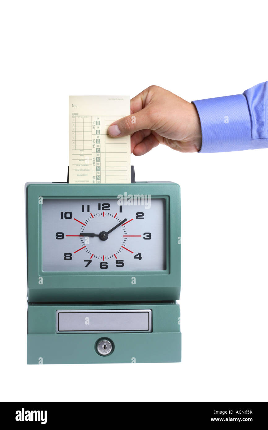 Hand putting card in time clock cut out on white background Stock Photo