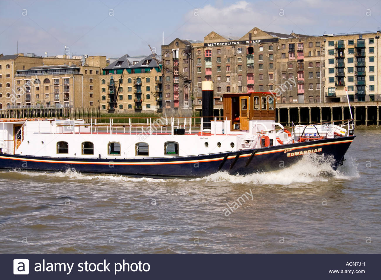 richard branson's edwardian luxury charter cruiser on the thames london Stock Photo