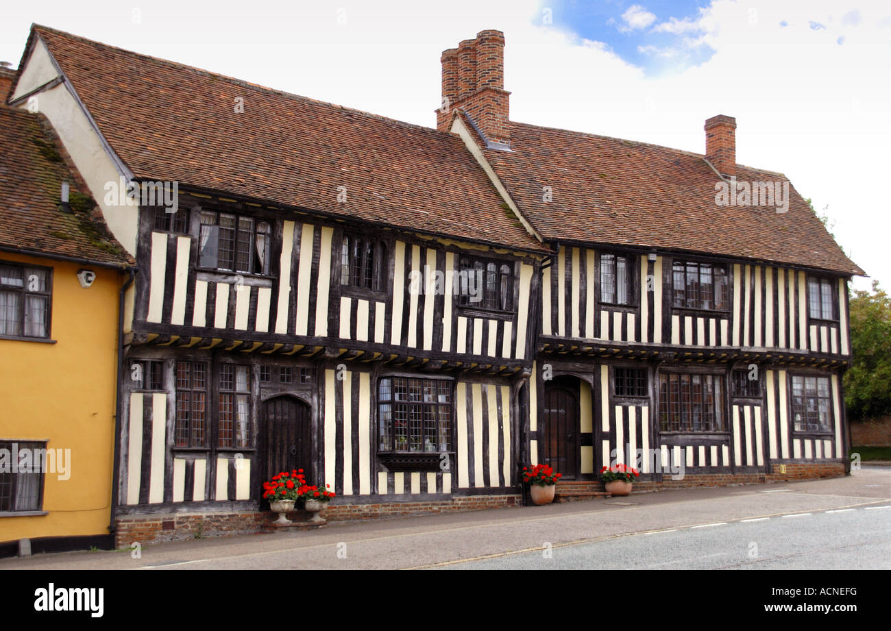Cottages in Lavenham, Suffolk, England - Stock Image