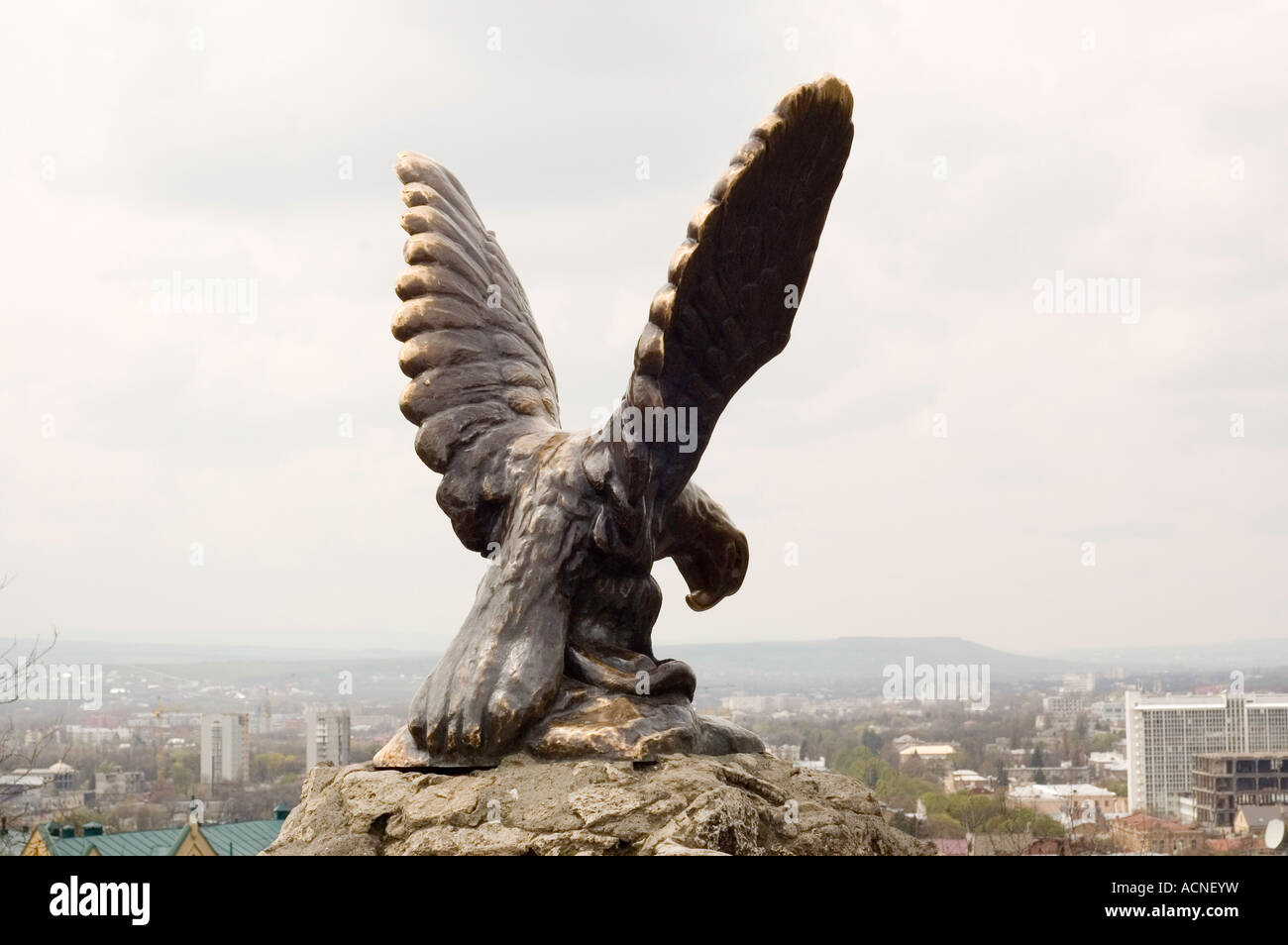 Russian Eagle statue in Pyatigorsk in the North Caucasus region of South Western Russia - Stock Image