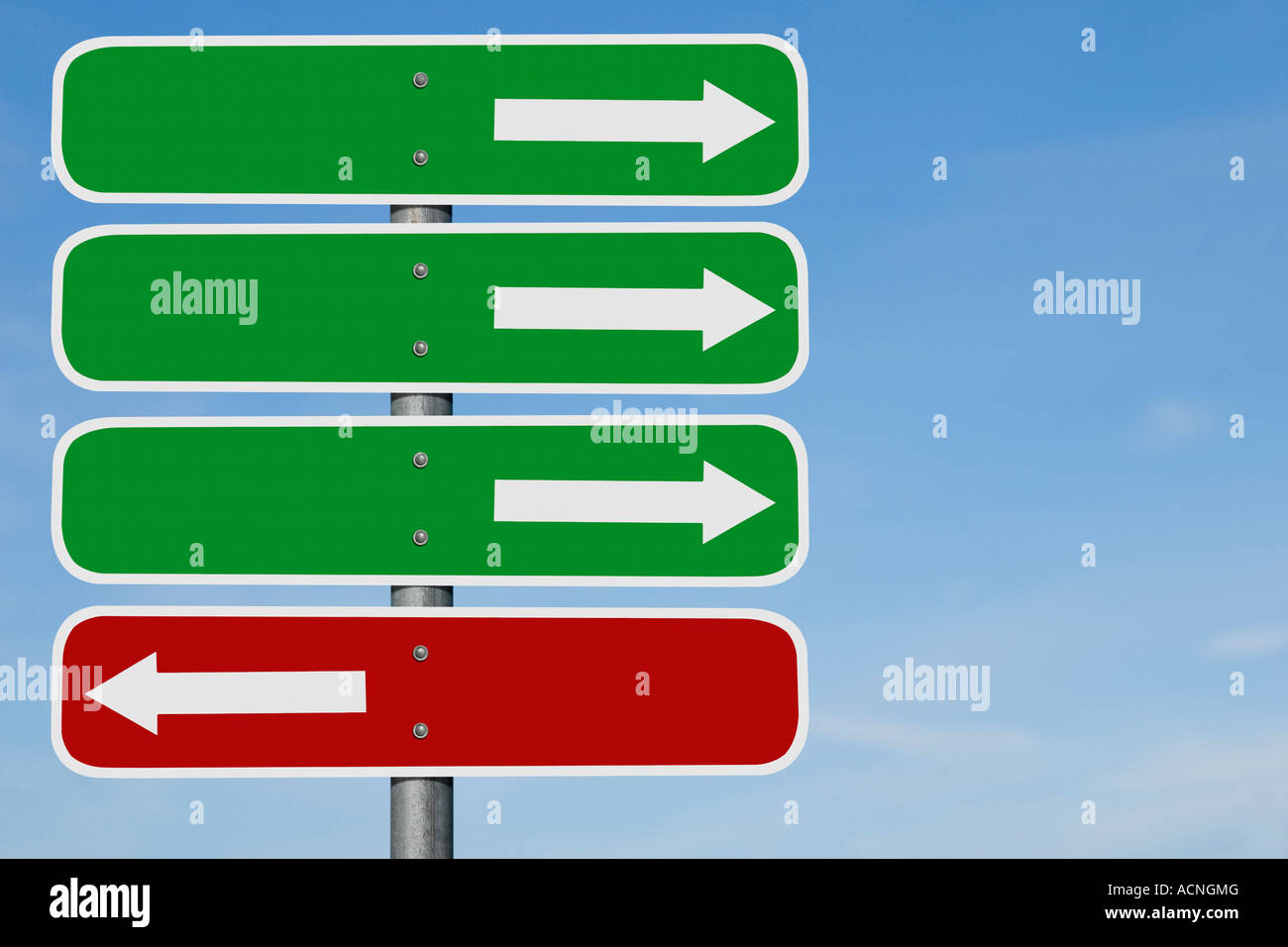 three blank green arrow signs over blank red sign with opposite