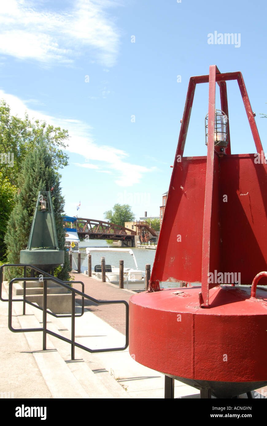 buoy at fairport erie canal landing - Stock Image