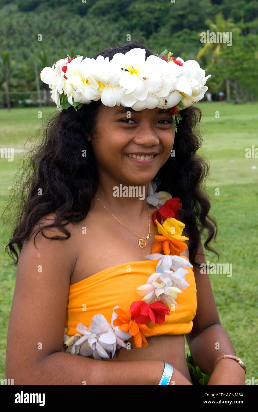Kioa Island Fiji female dancer. - Stock Image