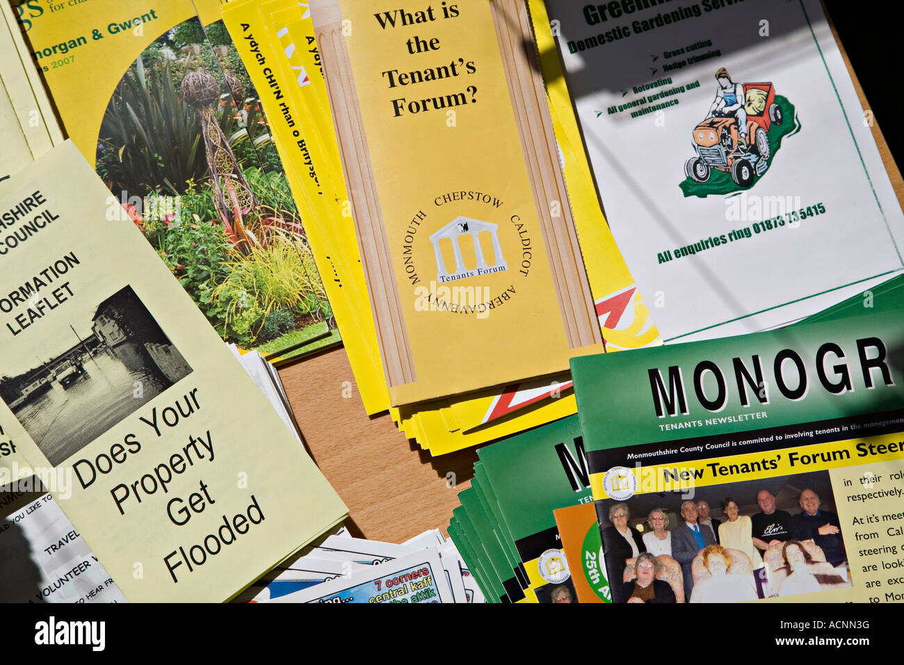Advice leaflets in county council offices prepared for members of the public Abergavenny Wales UK - Stock Image