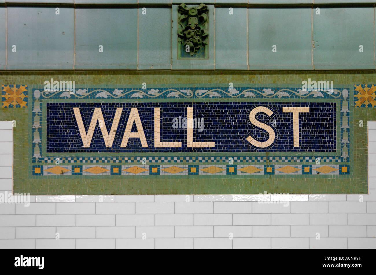 Wall street Subway station mosaic New York USA - Stock Image