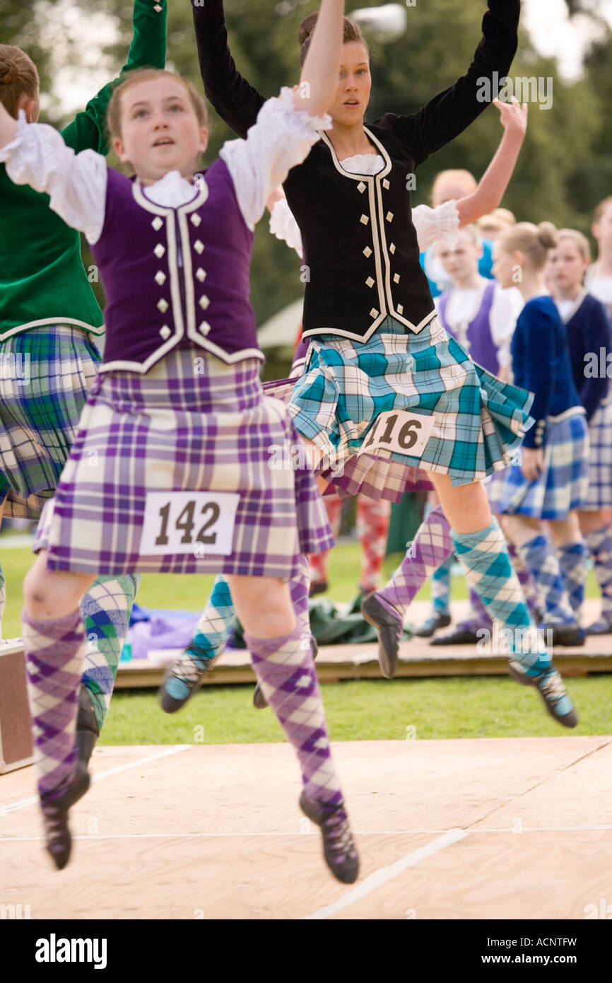 Traditional Scottish dancing young girls Highland Dancing at Langholm Common Riding at Langholm Eskdale Scotland Stock Photo
