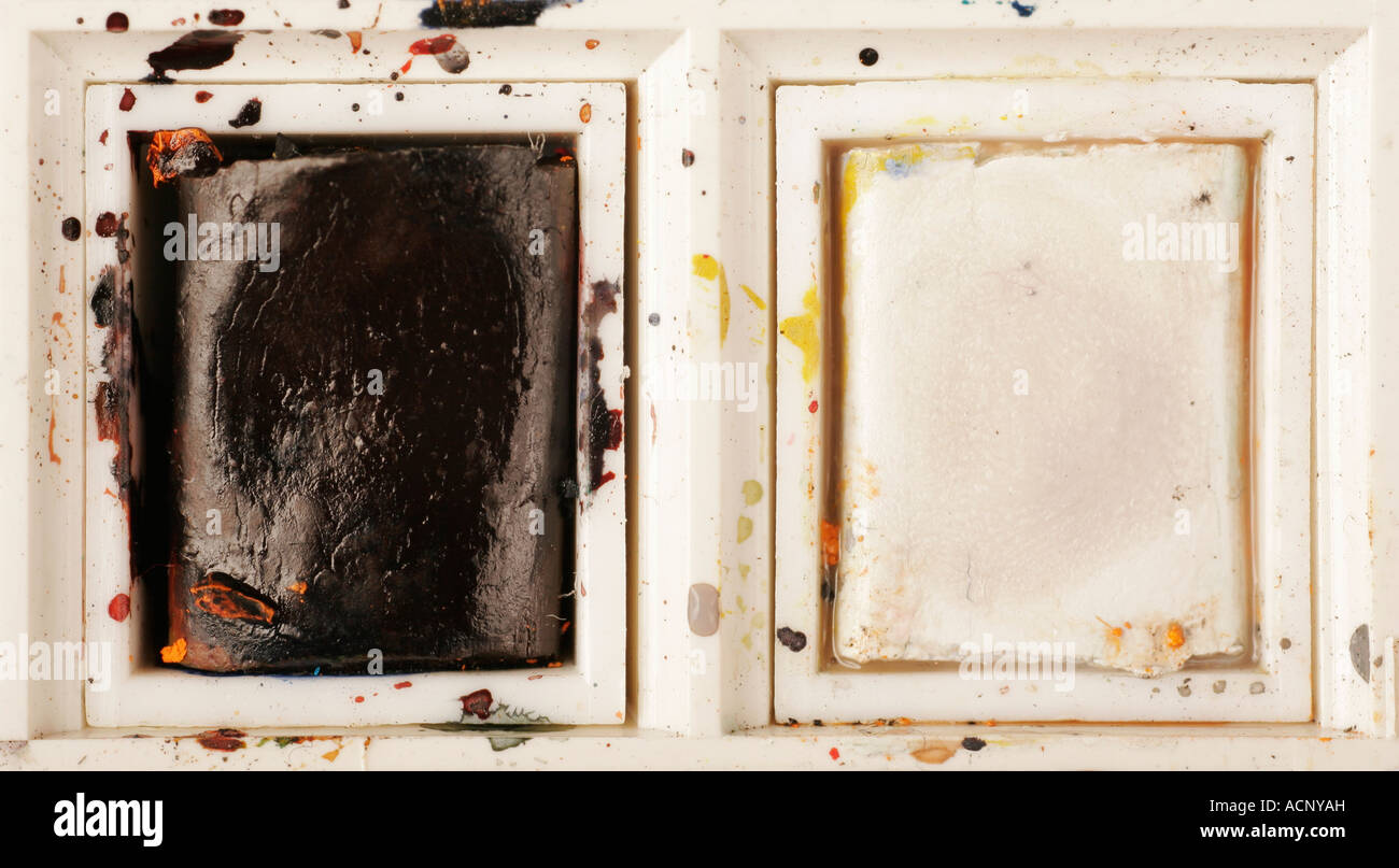 Black and white paint box detail - Stock Image