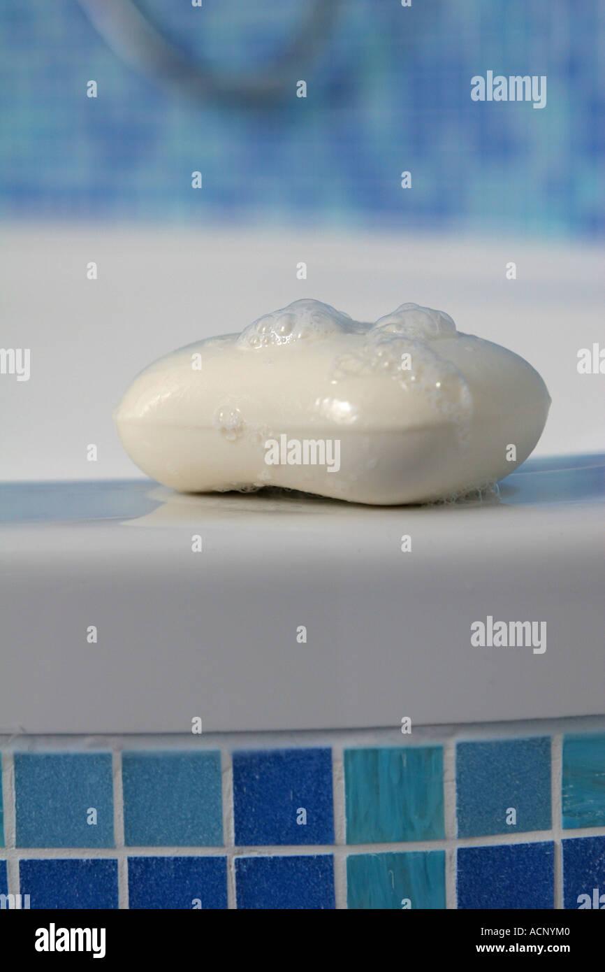 Soap with foam - Seife mit Schaum - Stock Image