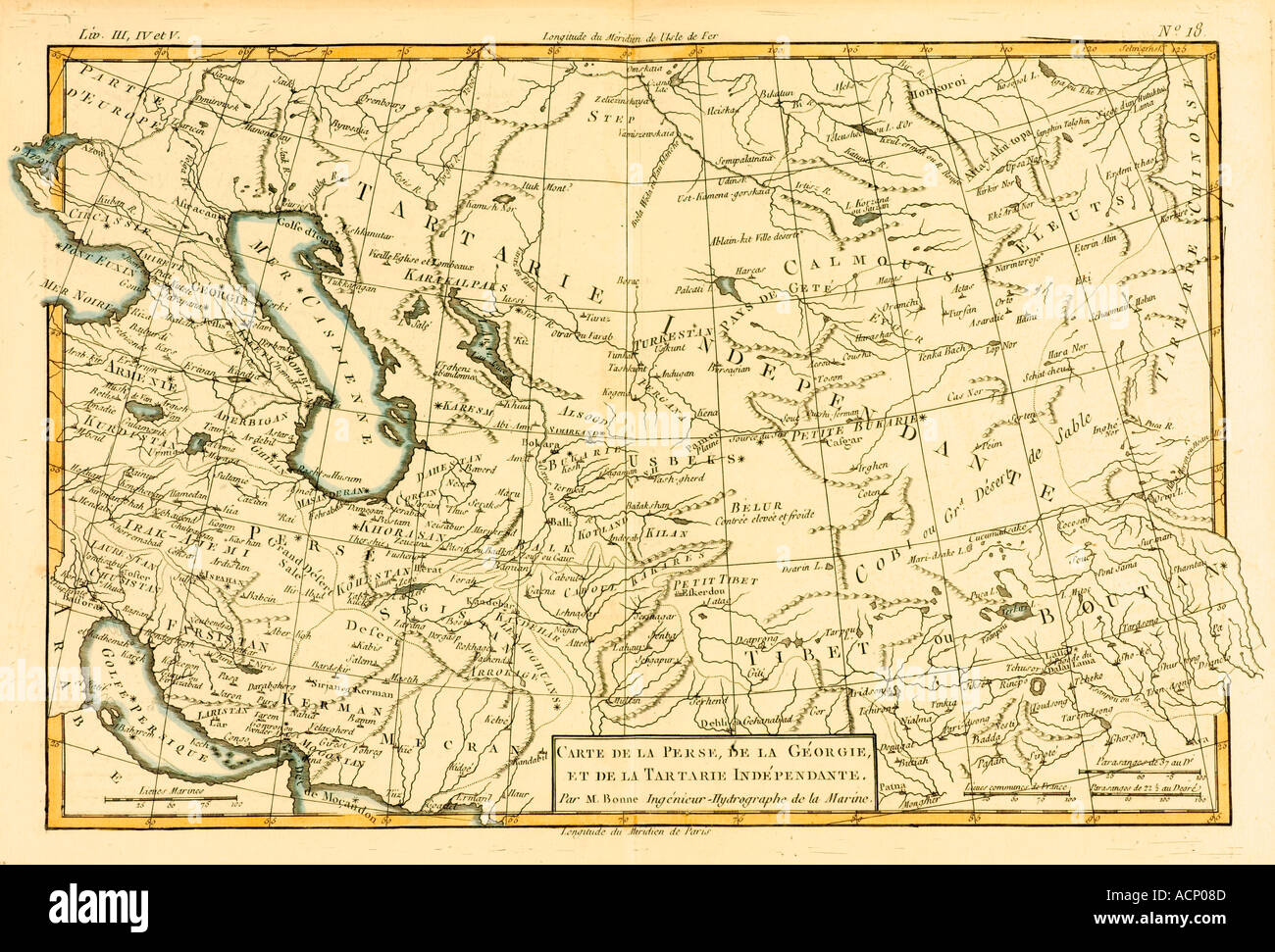 Map of Central Asia circa 1760 - Stock Image