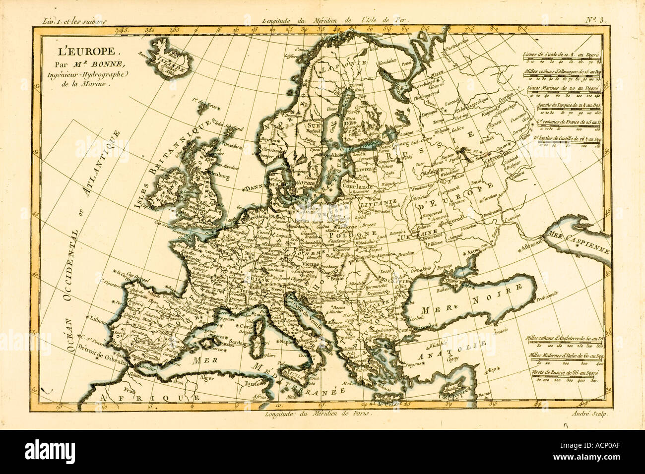 Map of Europe circa 1760.  From Atlas de Toutes Les Parties Connues du Globe Terrestre by Cartographer Rigobert Bonne - Stock Image