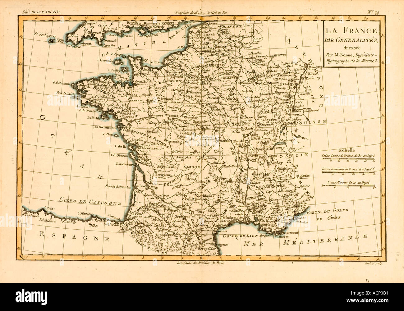 Map of France circa 1760 - Stock Image