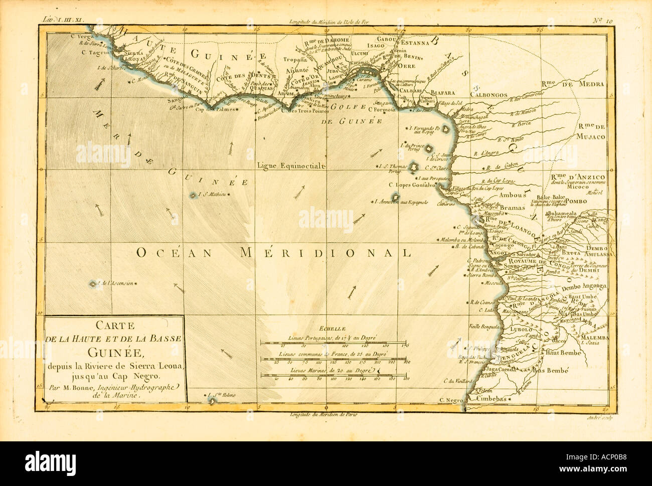 Map of Guinea circa 1760 - Stock Image
