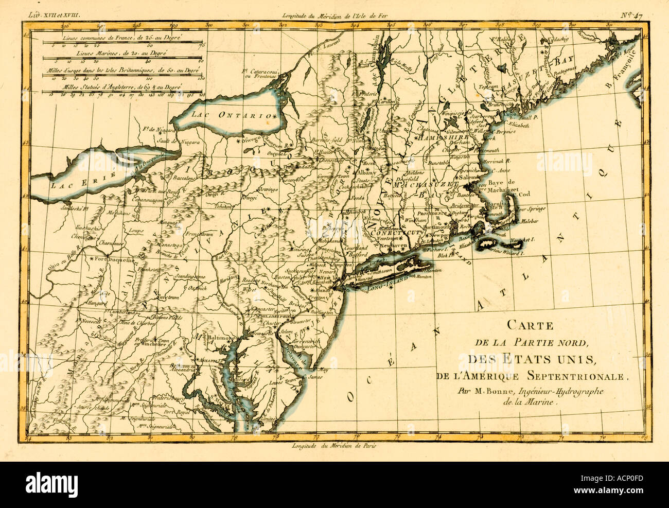 Map of the northern united states of North America circa 1760 Stock ...