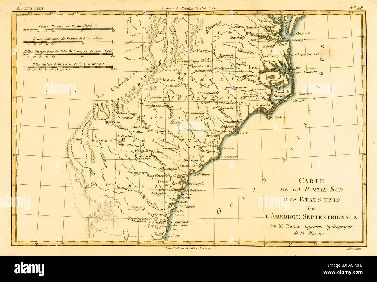 Map of the southern united states of North America circa 1760 - Stock Image