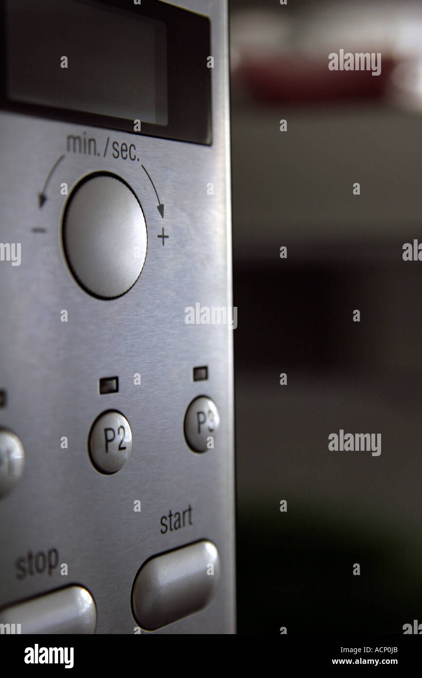Microwave control panel - Bedienfeld einer Microwelle - Stock Image