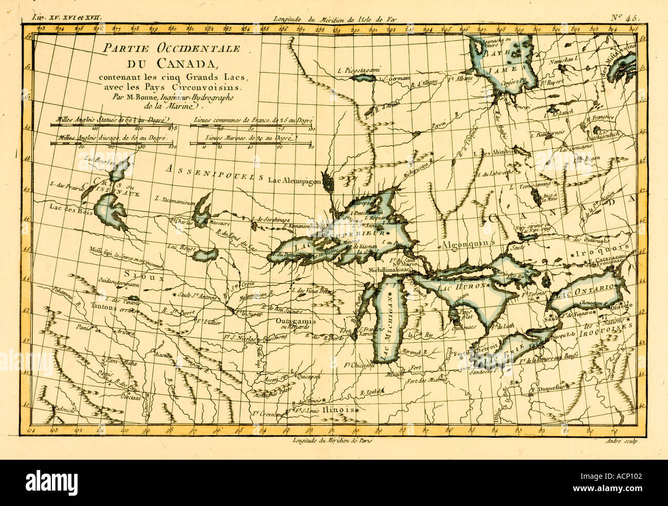Map of western Canada including the five great lakes circa 1760 - Stock Image